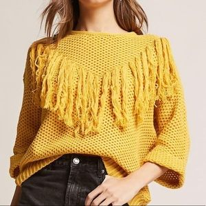 Mustard Seed Mustard Yellow Fringe Sweater.